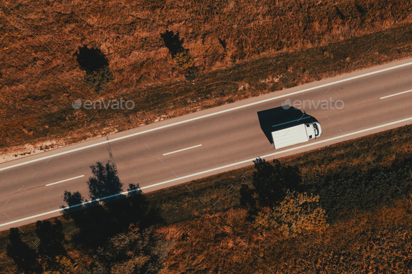 Lorry truck on the road, top down drone photography - Stock Photo - Images