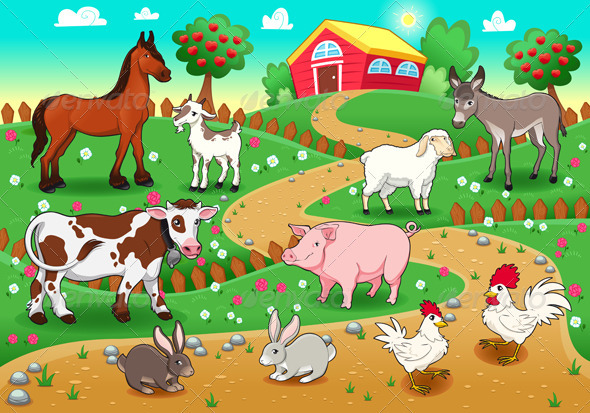 Farm animals with background by ddraw graphicriver