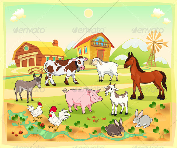 Farm animals with background - Animals Characters