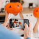 White man taking photo of his children while getting ready for Halloween - PhotoDune Item for Sale