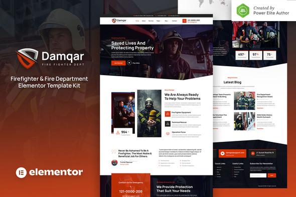 Damqar – Firefighter & Fire Department Elementor Template Kit