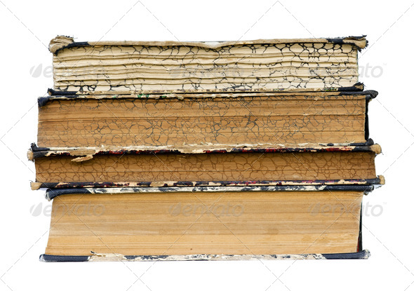 isolated old books - Stock Photo - Images