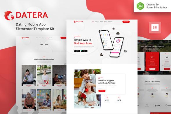 Datera – Online Dating Mobile App Landing Elementor Template Kit