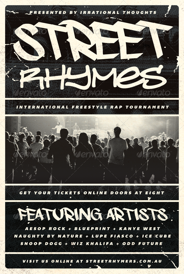 Street Rhymes - Hip-Hop Flyer Template - Concerts Events