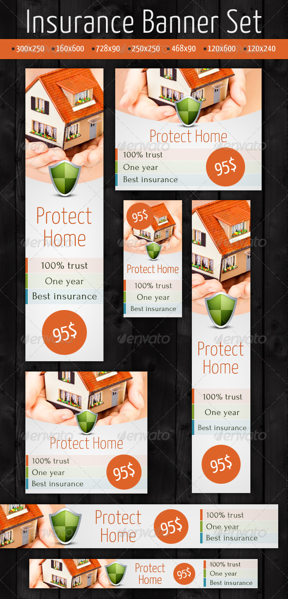 Insurance Banner Set - Banners & Ads Web Elements