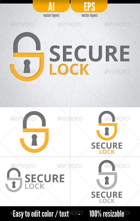 Secure Lock - Logo Template - Letters Logo Templates