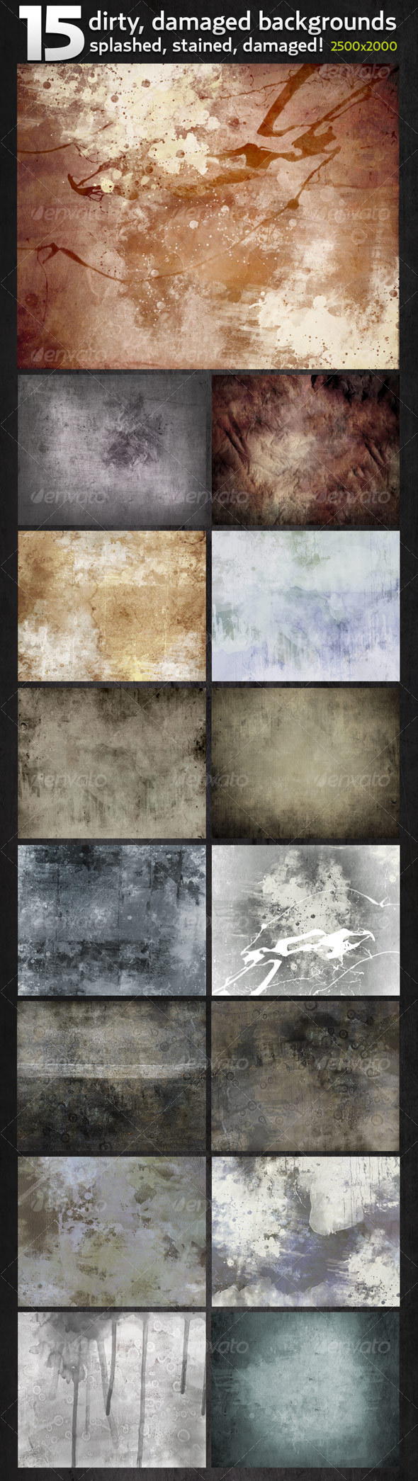 15 Hi-res Dirty, Damaged Backgrounds in 2500x2000 - Industrial / Grunge Textures