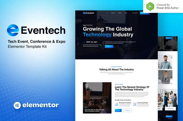 Eventech – Tech Event Conference & Expo Elementor Template Kit