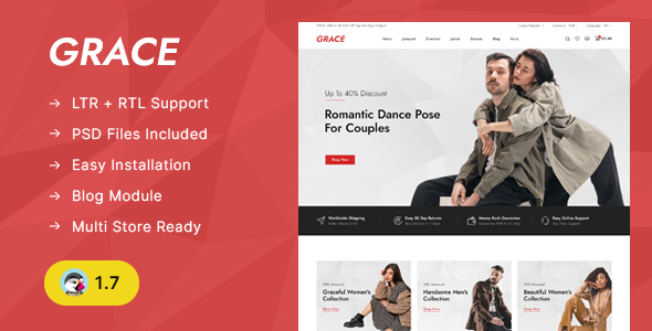 GRACE - Minimal Fashion Store Prestashop 1.7 Responsive Theme