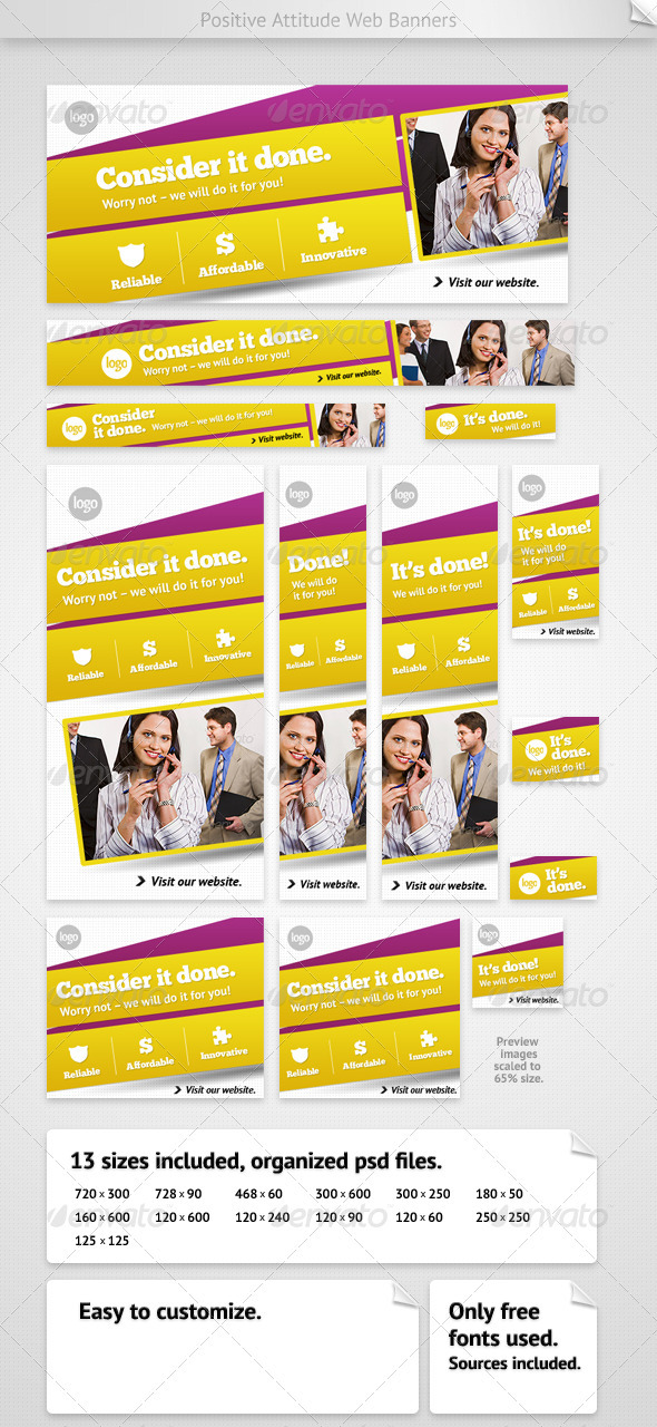 Positive Attitude Web Banners - Banners & Ads Web Elements