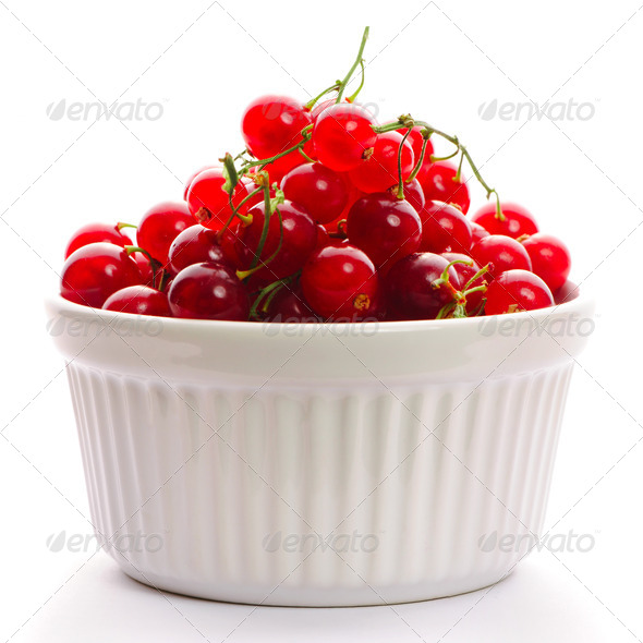 Redcurrant in bowl - Stock Photo - Images