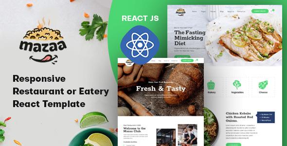 Mazaa - Responsive Restaurant or Eatery React Template