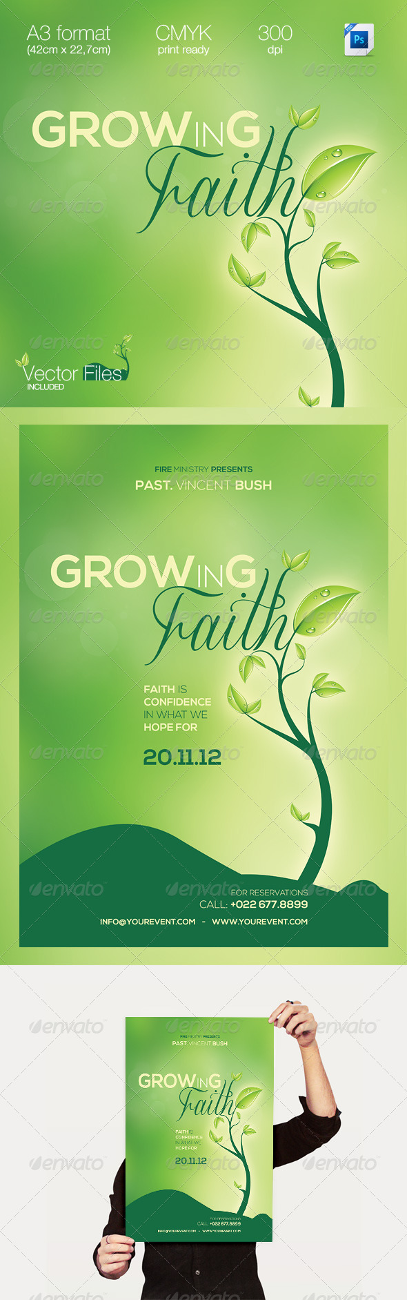 GrowINg Faith/Green | Multipurpose A3 Flyer - Church Flyers
