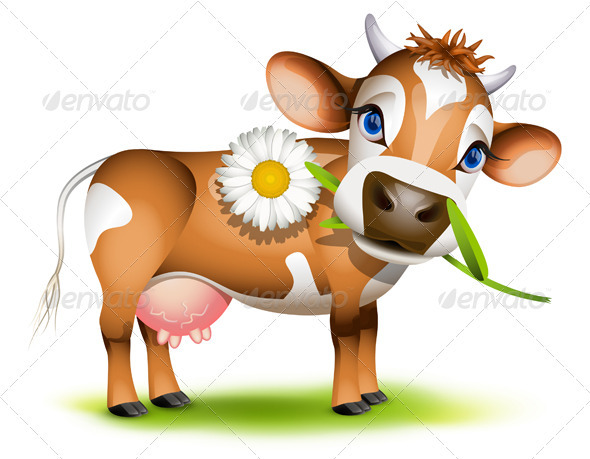 Little Jersey cow eating daisy - Animals Characters