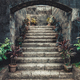 Vintage stone stairs surrounded by potted flowers - PhotoDune Item for Sale