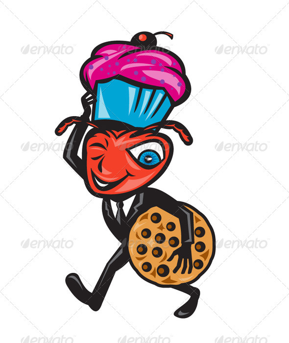 Male Ant Carrying Cupcake and Cookie - Animals Characters