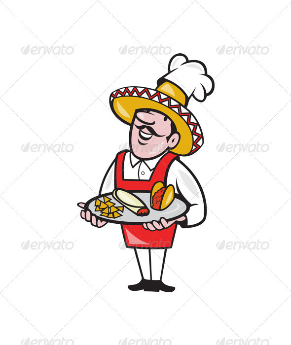 Mexican Chef Cook Plate Tacos Burrito Corn Chips - Animals Characters