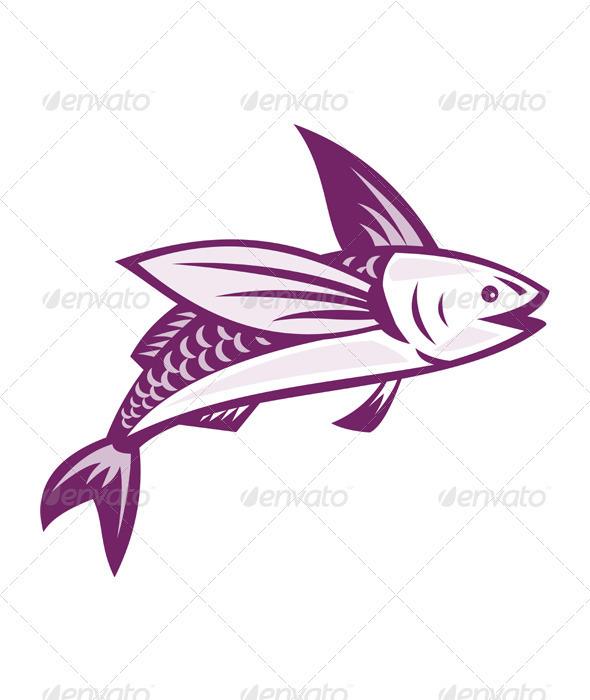 Flying Fish Retro - Animals Characters