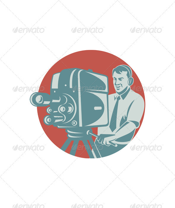 Cameraman Filming With Vintage TV Camera - Industries Business