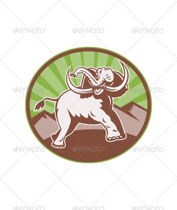 Elephant Giant Tusk Side Retro Circle - Animals Characters