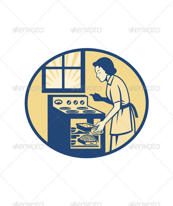 Housewife Baker Baking in Oven Stove Retro - People Characters