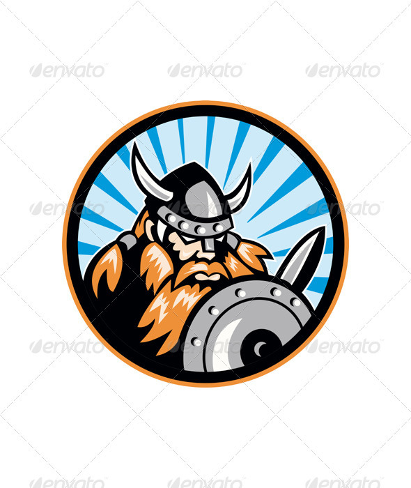 Viking Raider Barbarian Warrior Retro - People Characters