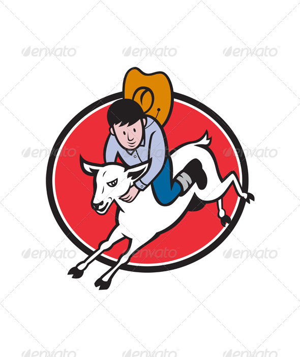 Junior Rodeo Cowboy Riding Sheep - People Characters