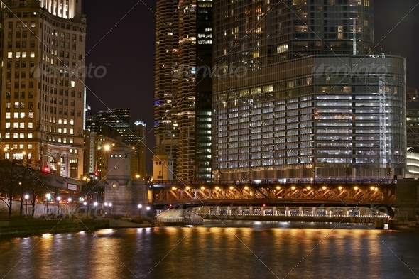 Illuminated Chicago - Stock Photo - Images