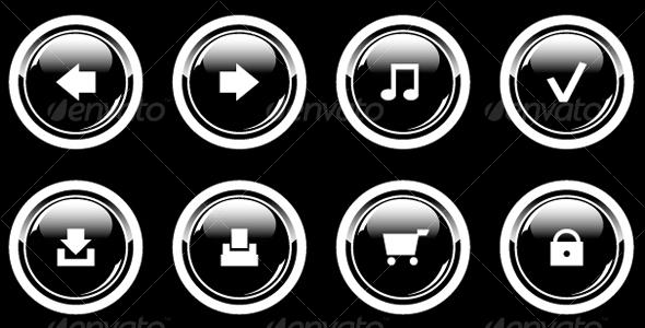 Set of glossy icons - Web Technology
