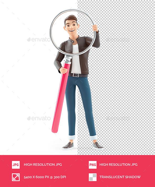 3D Cartoon Man Holding Big Magnifying Glass