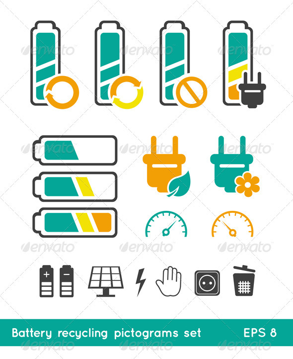 Battery Recycling Pictograms Set - Industries Business