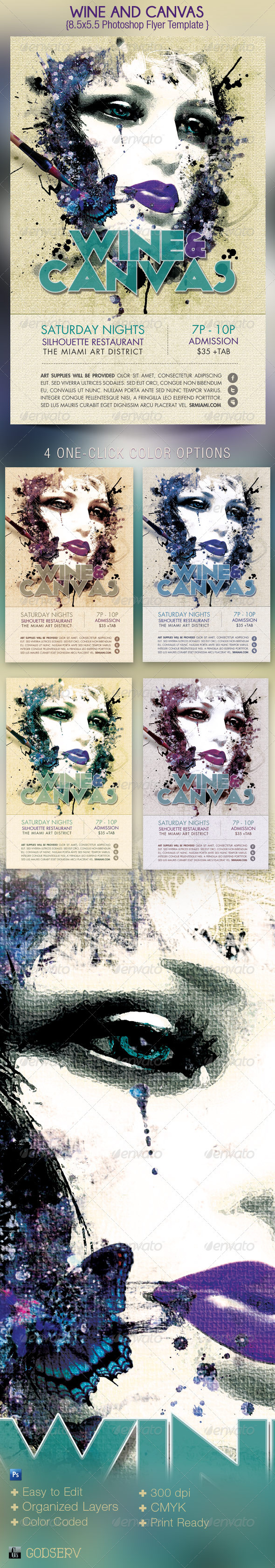 Wine Canvas Art Event Flyer Template - Events Flyers