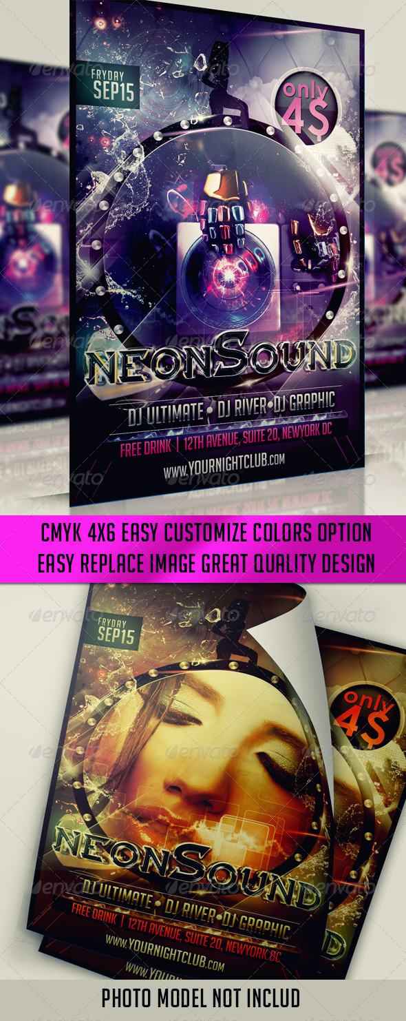 Neon Sound Flyer - Clubs & Parties Events