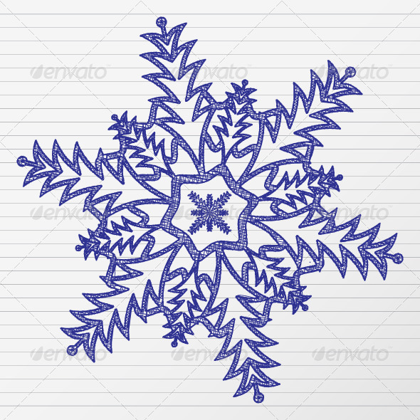 Drawing snowflake - Seasons Nature