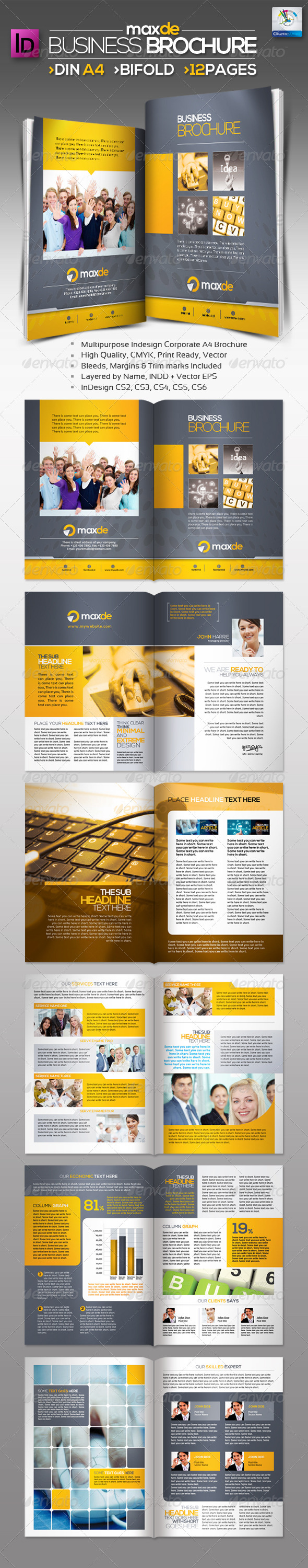 Maxde Bifold Clean A4 Brochure 12pages - Corporate Brochures