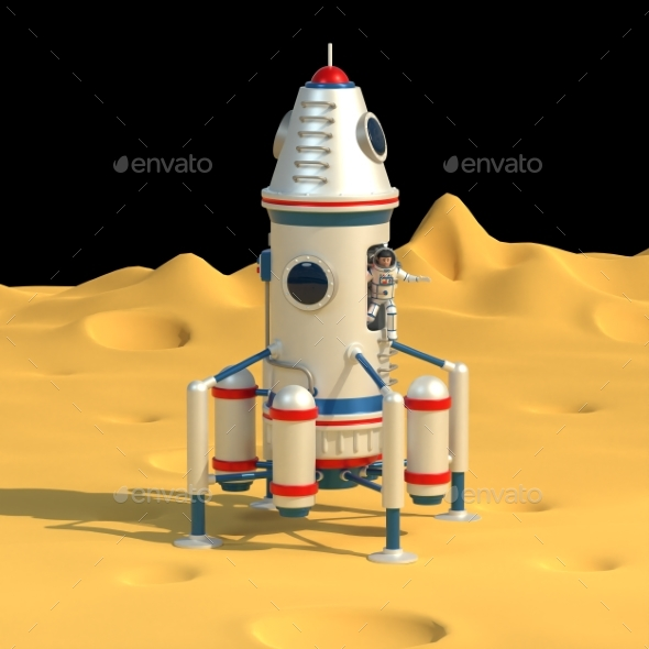 Space Lander with Astronaut