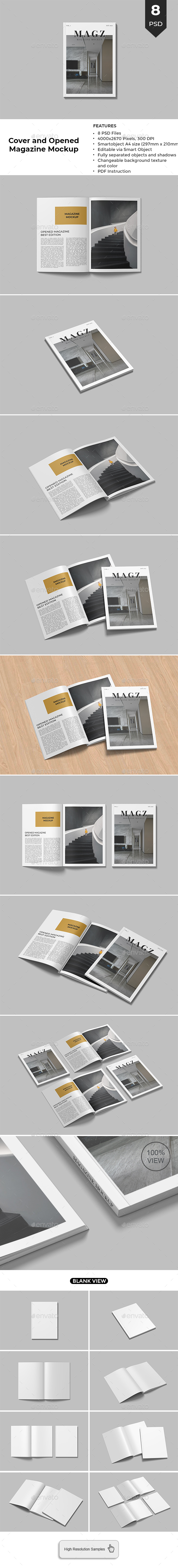 Cover and Opened Magazine Mockup