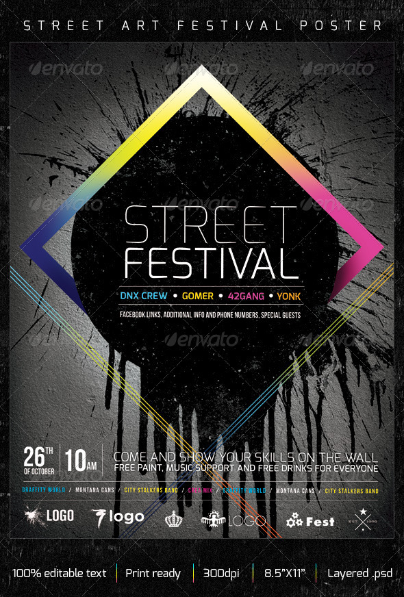 Street Art Graffiti Festival Creative Poster - Grunge Business Cards