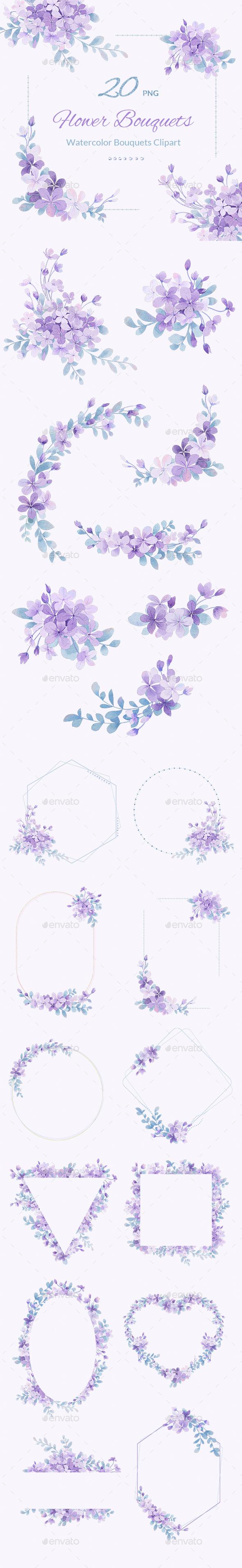 Purple Watercolor Floral Design Pack
