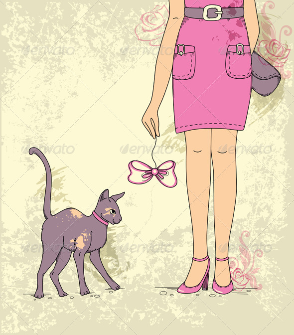 Girl with Cat - People Characters