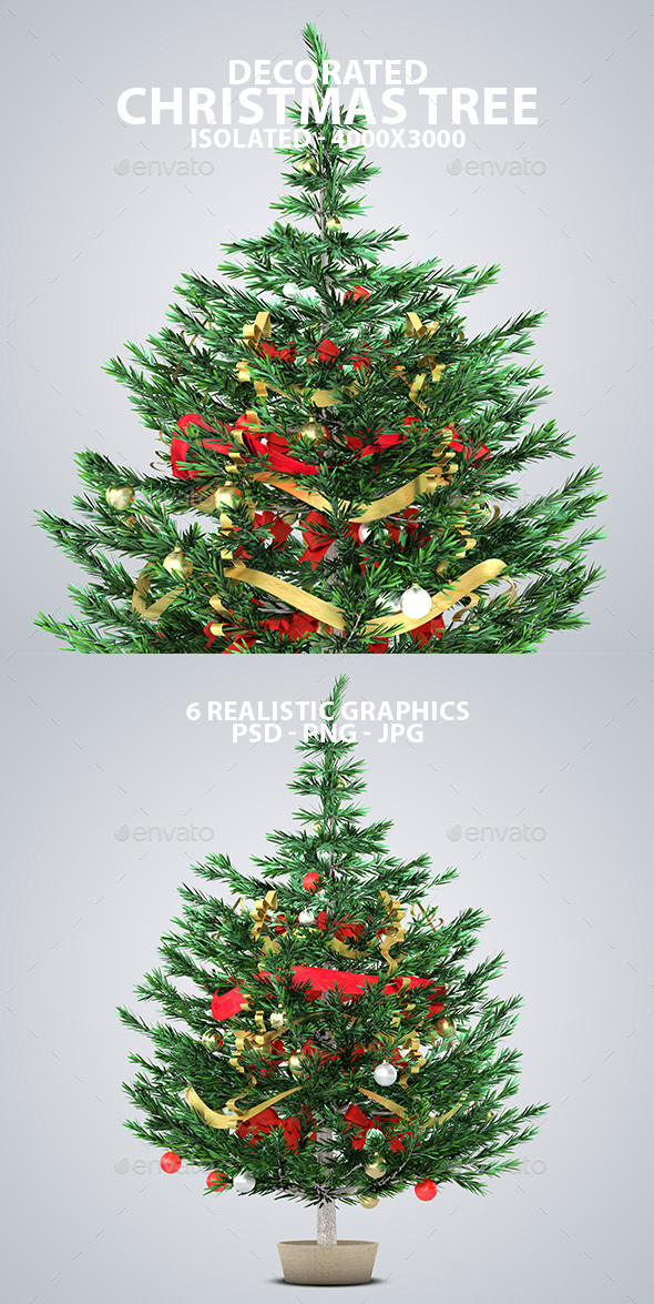 Realistic Decorated Christmas Trees