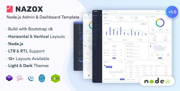 Nazox - Node.js  Admin & Dashboard Template