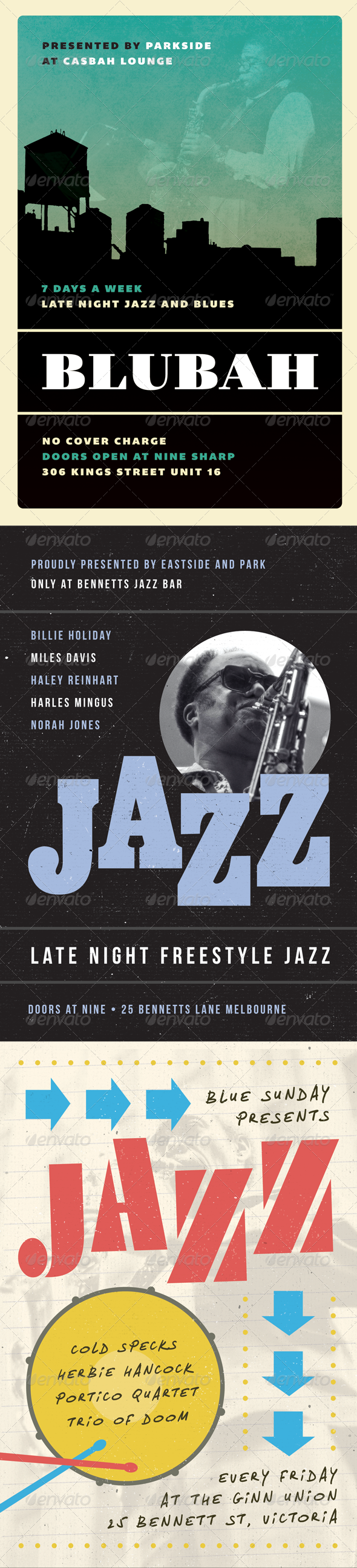 Jazz, Blues and Swing Flyer Bundle - Volume One - Concerts Events