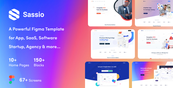 Sassio - App, SaaS, Software, Startup, Agency Figma Template
