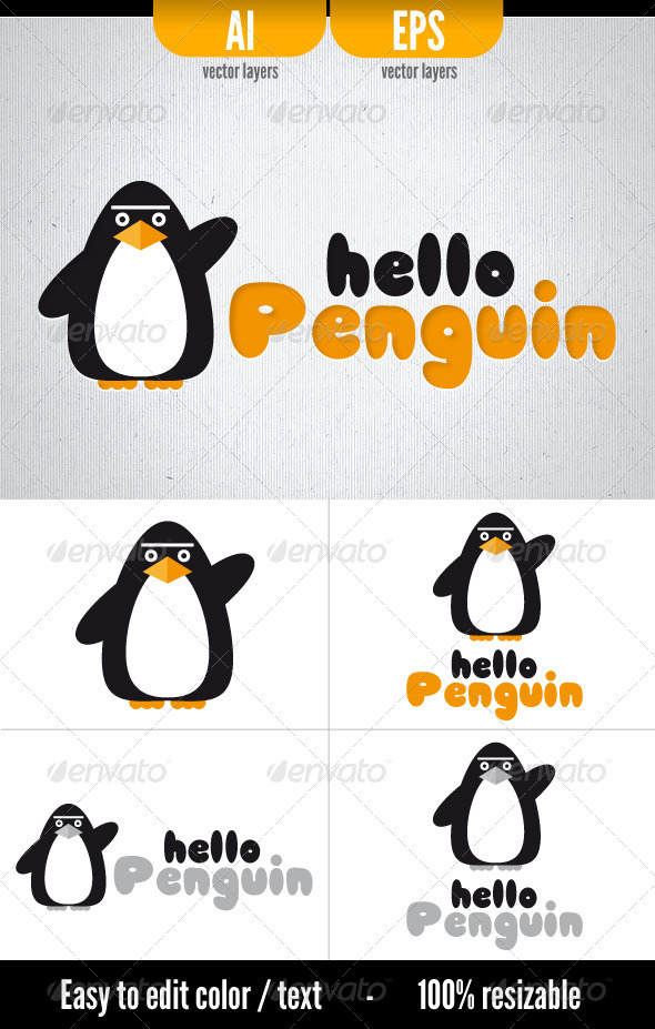 Hello Penguin  Logo Template By Doghead  Graphicriver