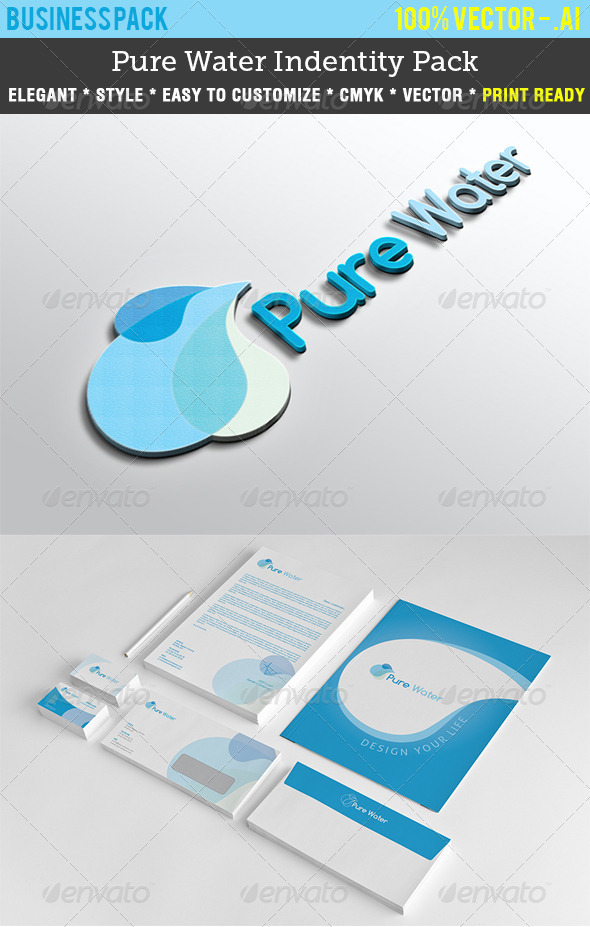 Pure Water Indentity Pack - Stationery Print Templates