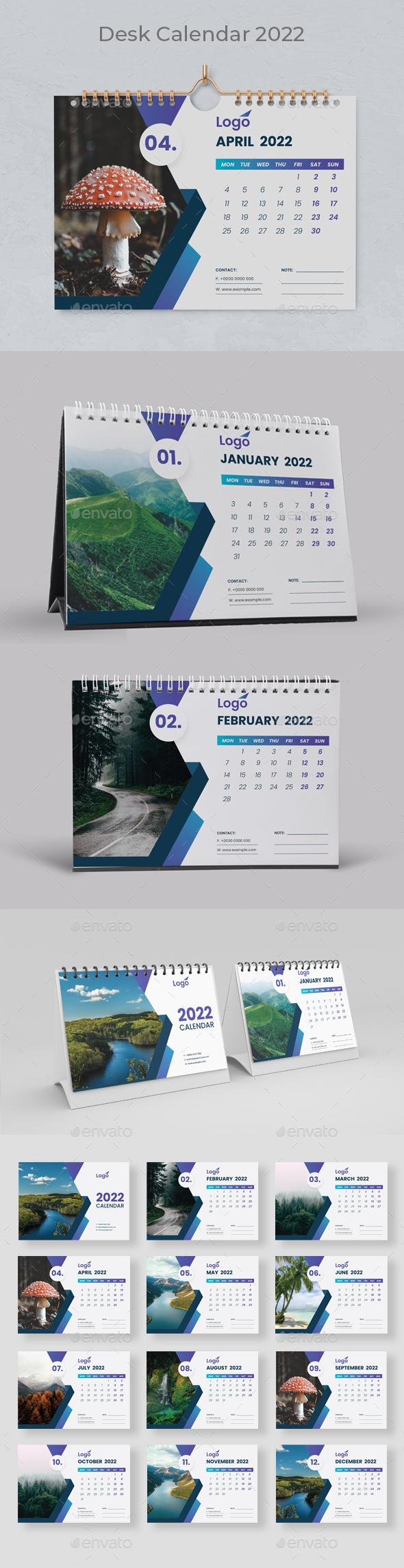 Blue Desk Calendar 2022