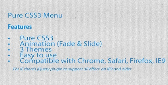 Pure CSS3 Menu  - CodeCanyon Item for Sale