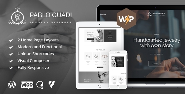 Fabulous Pablo Guadi - Precious Stones Designer & Handcrafted Jewelry Online Shop WordPress Theme
