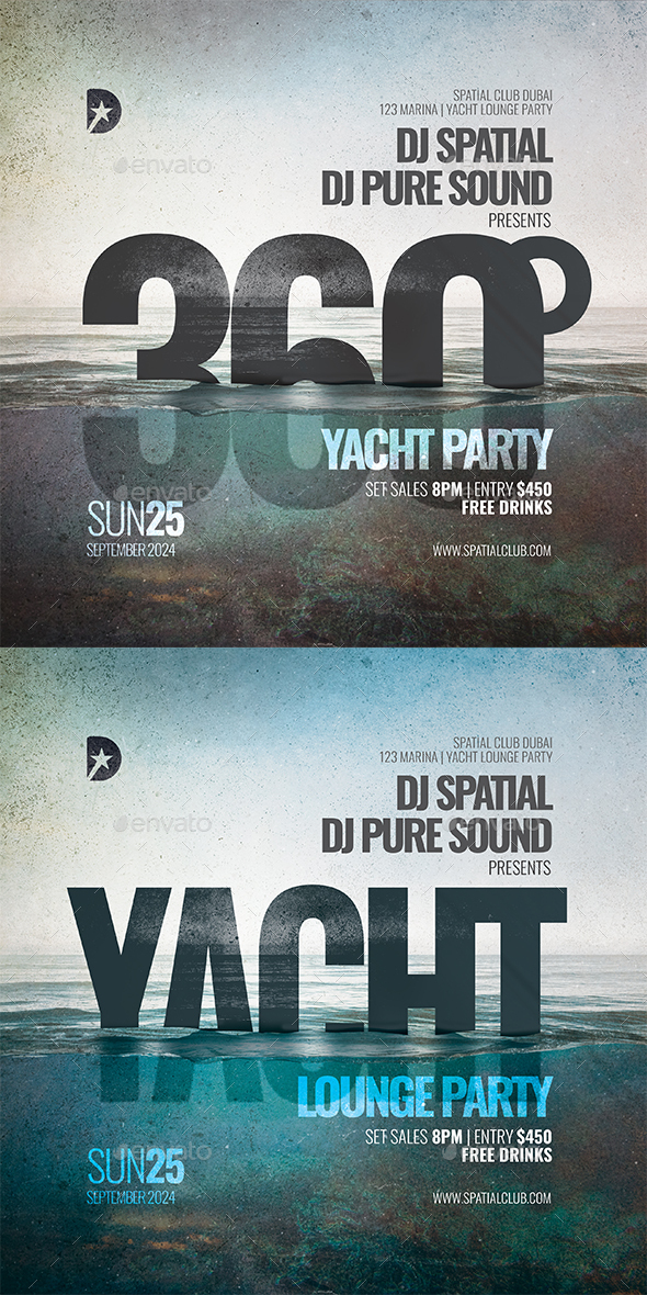 360 Yacht Party Flyer